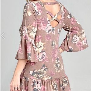 Samantha Plus Size Floral Knit Top Bell Sleeve